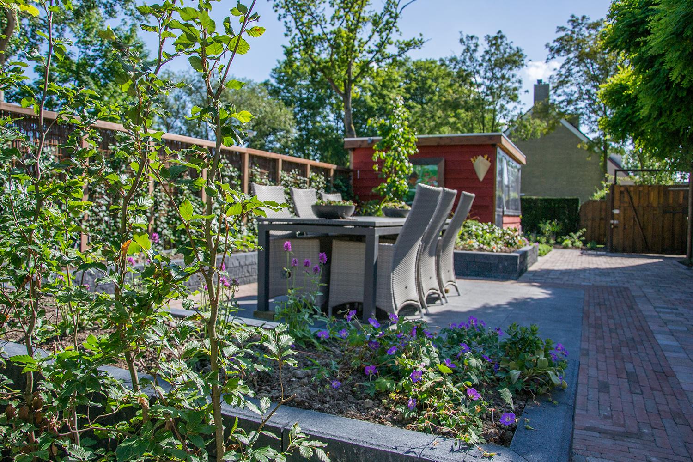 Strakke tuin met plantenbak en groene hagen te Heerhugowaard